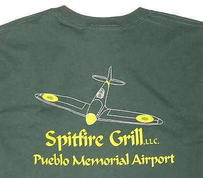 Spitfire Airplane Grill Pueblo Colorado Airport T-shirt M - New