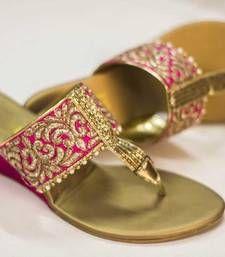 Buy gold plain fancy fabric footwear footwear online