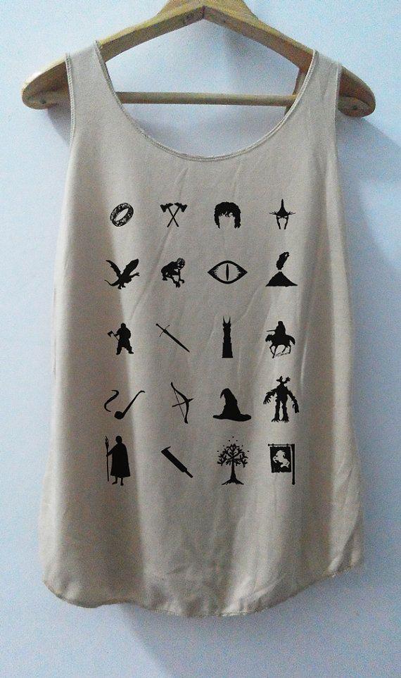 Funny LOTR I con White Tree Goodor Shirts Tank top Pop Punk Rock Tank Top Vest  unisex T shirt lady T-Shirt SizeS,M,L