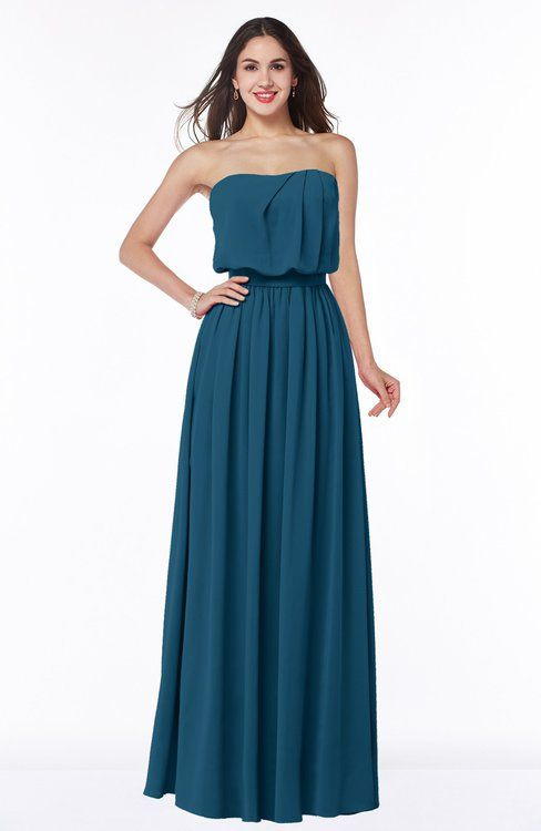 Moroccan Blue Romantic A-line Sleeveless Zipper Ribbon Plus Size Bridesmaid Dresses