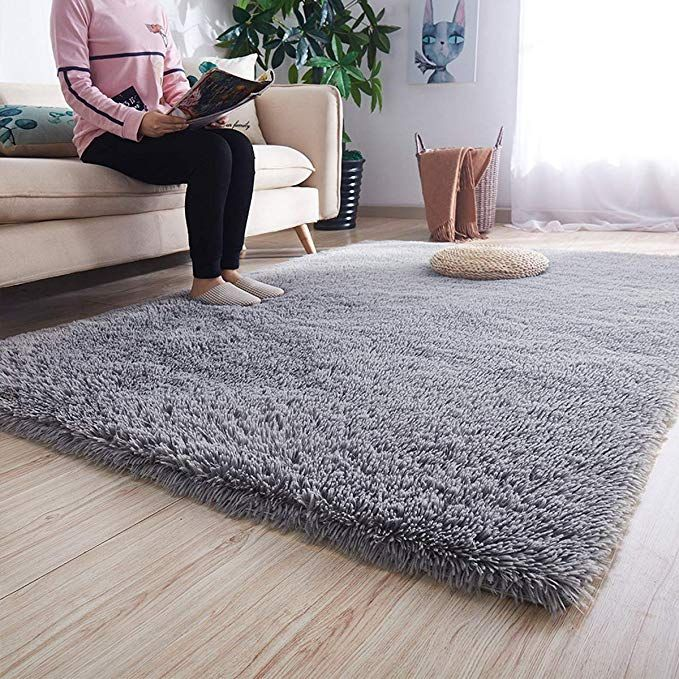 Amazonsmile Noahas Super Soft Modern Shag Grey Area Rugs Fluffy Living Room Carpet Comfy Bedroom Ho In 2020 Floor Rugs Living Room Living Room Carpet Modern Shag Rugs