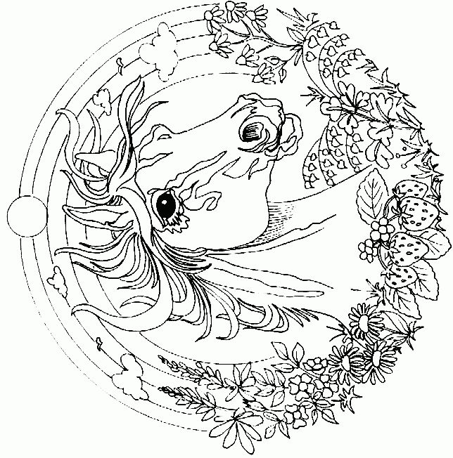 detailed coloring pages for adults coloring page horse mandala coloringme