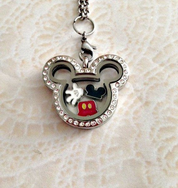 Mickey Love inspired stainless steel memory locket with crystals and  charms