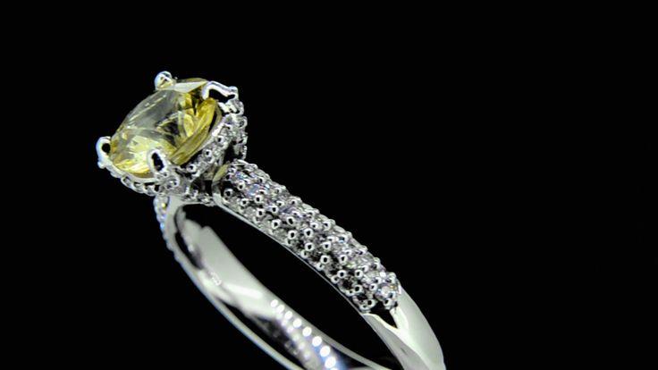 'Helena Primrose' -- Fabulous Primrose Yellow Sapphire Engagement Ring with Luxury Diamond set Shank & Setting in 18ct White Gold. Sapphire Wt. 1.46ct; Dia.Wt. 0.30ct; G/VS1.
