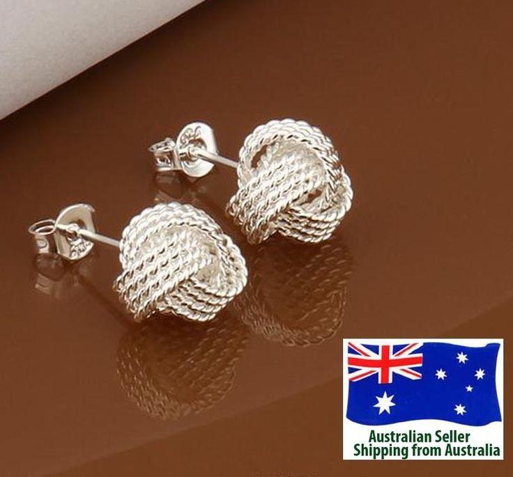 925 Sterling Silver Plated Fashion Knot Stud Earrings Woman Jewellery Girl Gift  | eBay