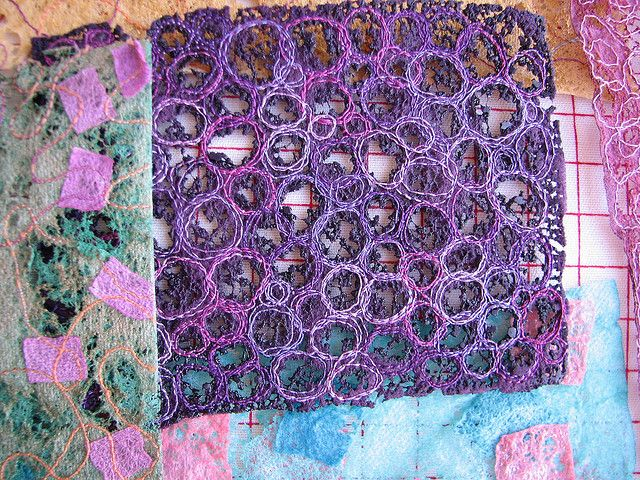 stitched on acrylic felt and then melted with heat gun by calamity kim, via Flickr