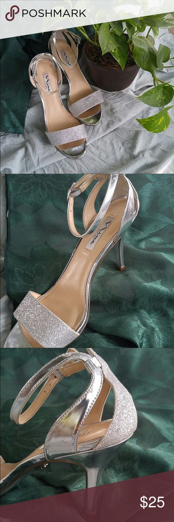 Silver strappy heels RESALE! Silver strappy heels that I bought for a winter wedding. Will not wear again any time soon. In very good condition and pretty comfortable for heels. Shoes Heels