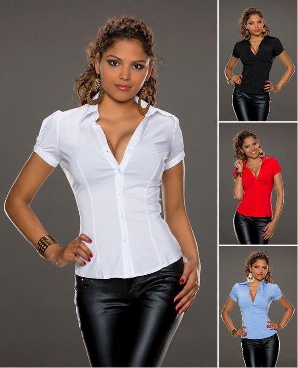 Kurzarm Bluse S M L XL Stretch Tailliert weiss schwarz rot blau Business Hemd