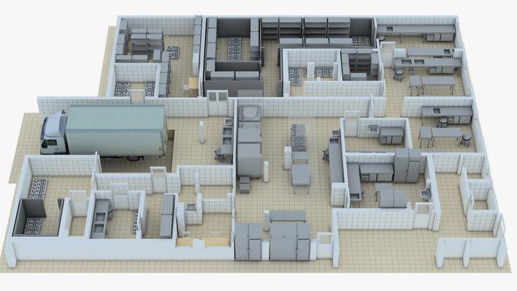 NEW CAD 3D: PLANTA DE COZINHA INDUSTRIAL I | 13_Ref_Chef | Pinterest ...