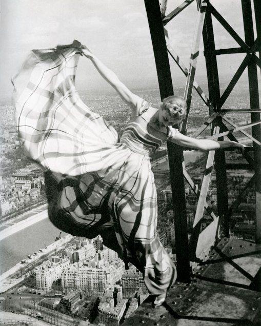 Erwin Blumenfeld Lisa Fonssagrives on the Eiffel Tower, for Vogue 1939
