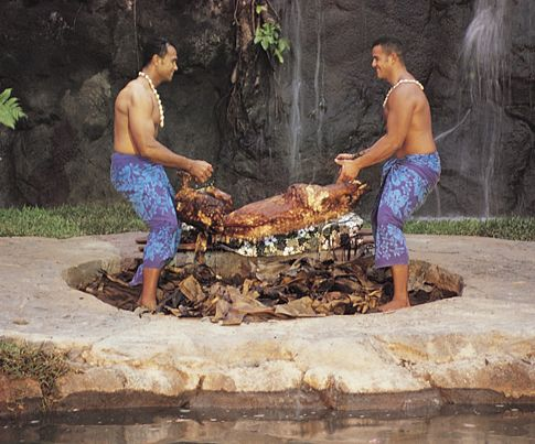 Kalua pork is usually seasoned with sea salt and sometimes green onions.   Pork butt, 3 lbs Hawaiian (or sea) salt, 3 tbsp Water, 1/2 gal  1.Defrost pork butts 2.Rinse pork with cold water and place in medium roasting pan. 3.Rub Hawaiian (or sea) salt on center and add water. Cover pork with ti leaves and cover roasting pan with aluminum foil. 4.Bake at 350 degrees for 2-3 hours, or until meat is soft.