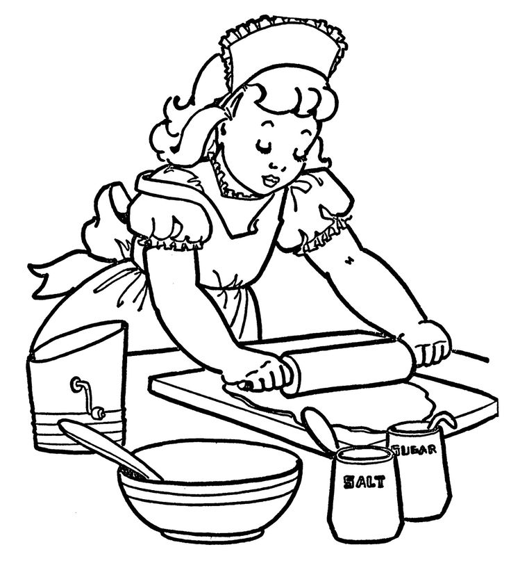 vintage coloring book illustrations vintage coloring image little girl baking - Coloring Books For Girls