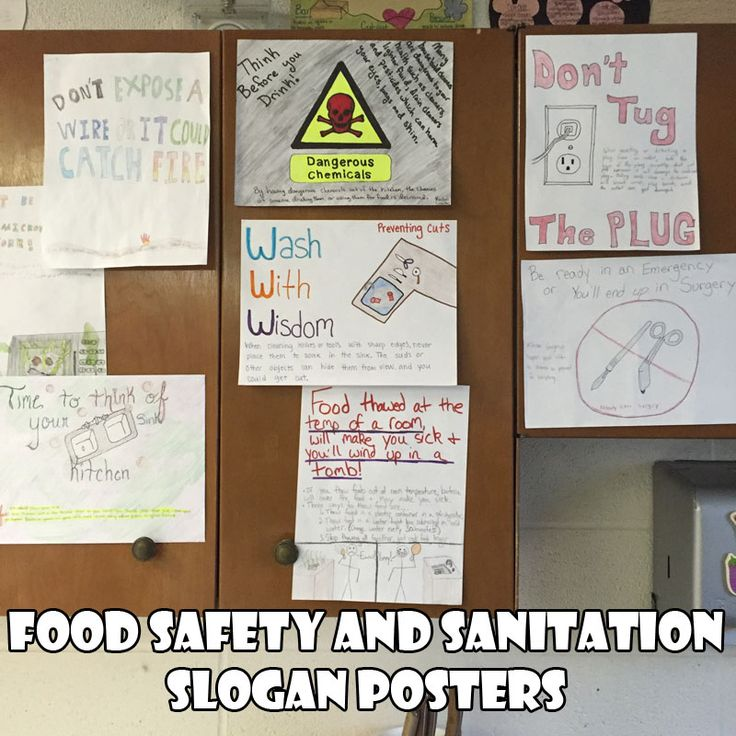 food-safety-and-sanitation-slogan-posters family consumer sciences home economics culinary lesson plan activity