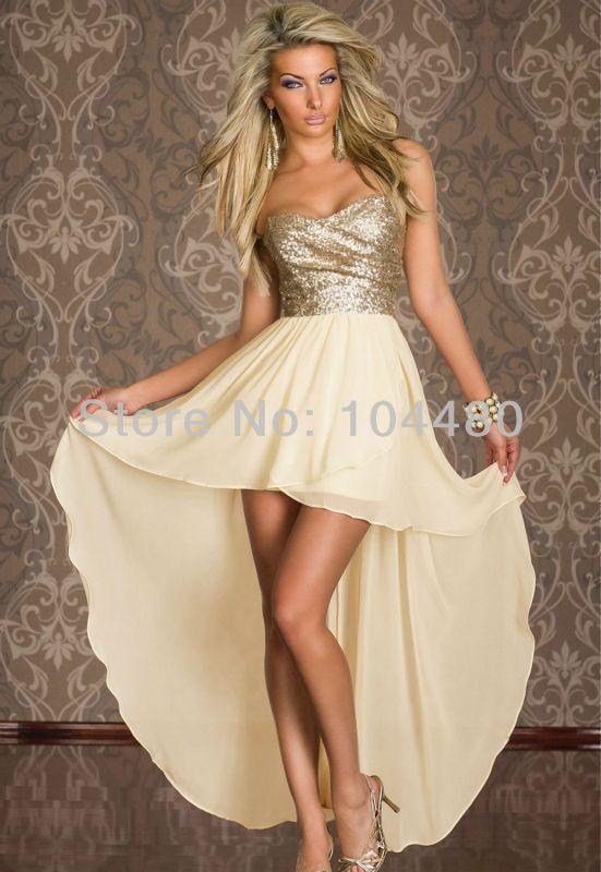 Vestido dorado largo por atras y corto por adelante