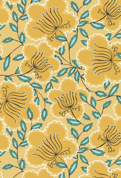 #floral #mustard #blue : Abbie by Wrkdesigns