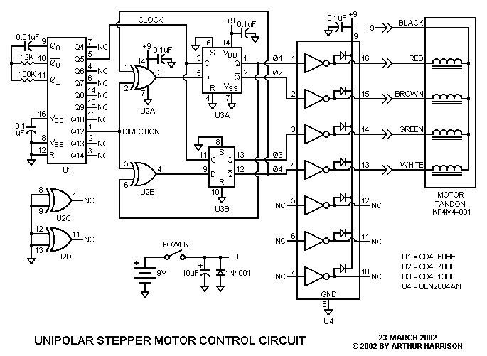 Art's Theremin Page: Unipolar Stepper Motor Control