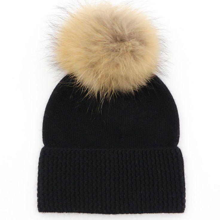 Olly black wool  || natural fur bobble hat