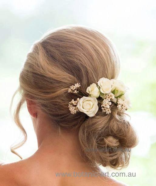 #hair flowers #hairstyle #bun #rustic #wedding hair
