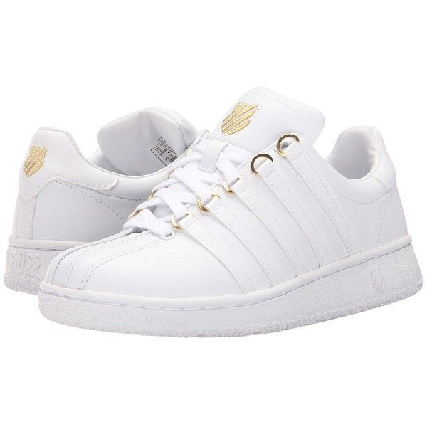 K-Swiss Classic VN 50th (50th/White/Gold Leather) Women's Shoes ($75) ❤ liked on Polyvore featuring shoes, lace up shoes, striped shoes, leather shoes, leather upper shoes and cushioned shoes