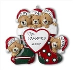 This ornament is perfect for a family of 5. It has the family name in the middle and names of all the members of your family of the bears hats. If you dont have 5 in your family you can buy oranment with different numbers of bears .