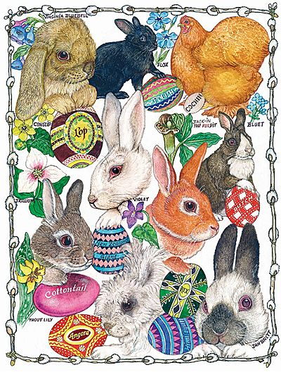 Jan Brett artwork  Easter Bunnies