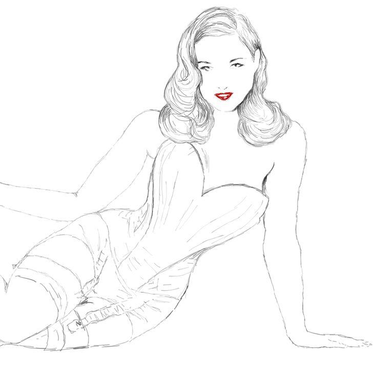 Dita. first sketch on Wacom tablet.  #drawing #digital #women #sketching #intuos