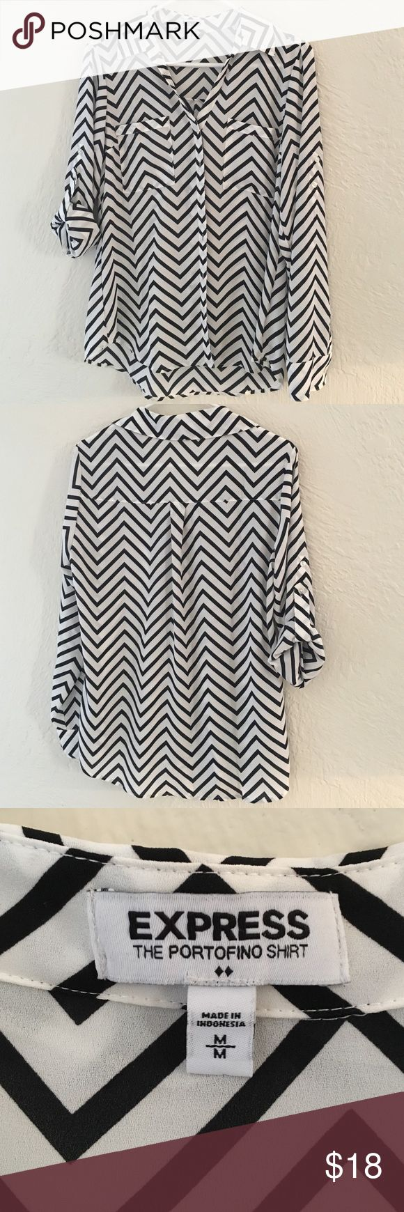 Express Portofino Chevron Blouse Portofino blouse in black and white chevron print. Can be worn full length sleeve or folded at 3/4 length with strap and button Express Tops Blouses