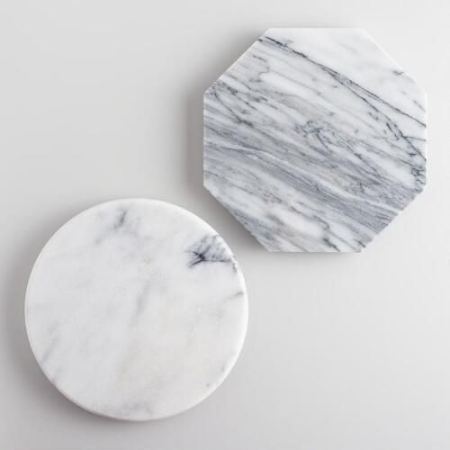 One of my favorite discoveries at WorldMarket.com: Mini Geo White Marble Cutting Boards Set of 2
