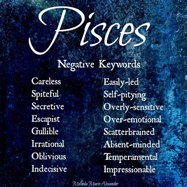 Pisces Negative Keywords With Text Zodiac Traits Pisces Pisces