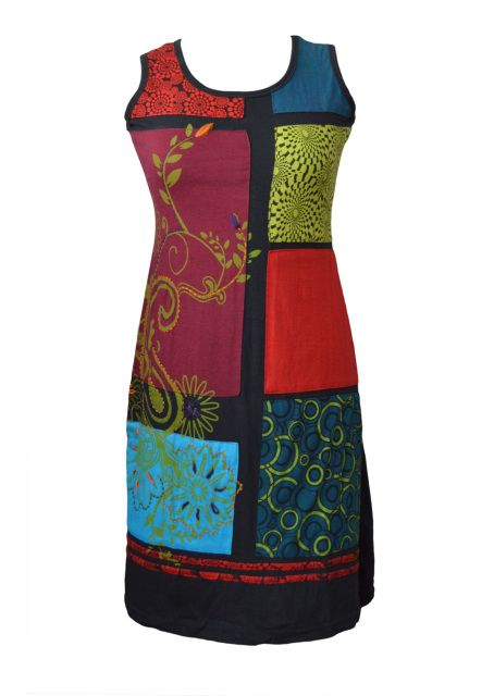 LADIES SLEEVLESS CARRY FLOWER DRESS WITH PATCH AND EMBROIDERY - MARIGOLD (3005)