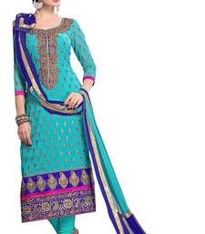Buy Sky blue embroidered Chanderi Dress material with dupatta pakistani-salwar-kameez online