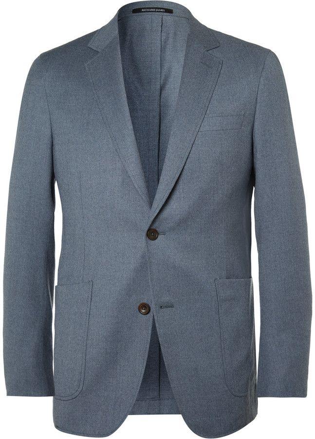 Richard James Blue Slim-Fit Super 110s Wool Blazer