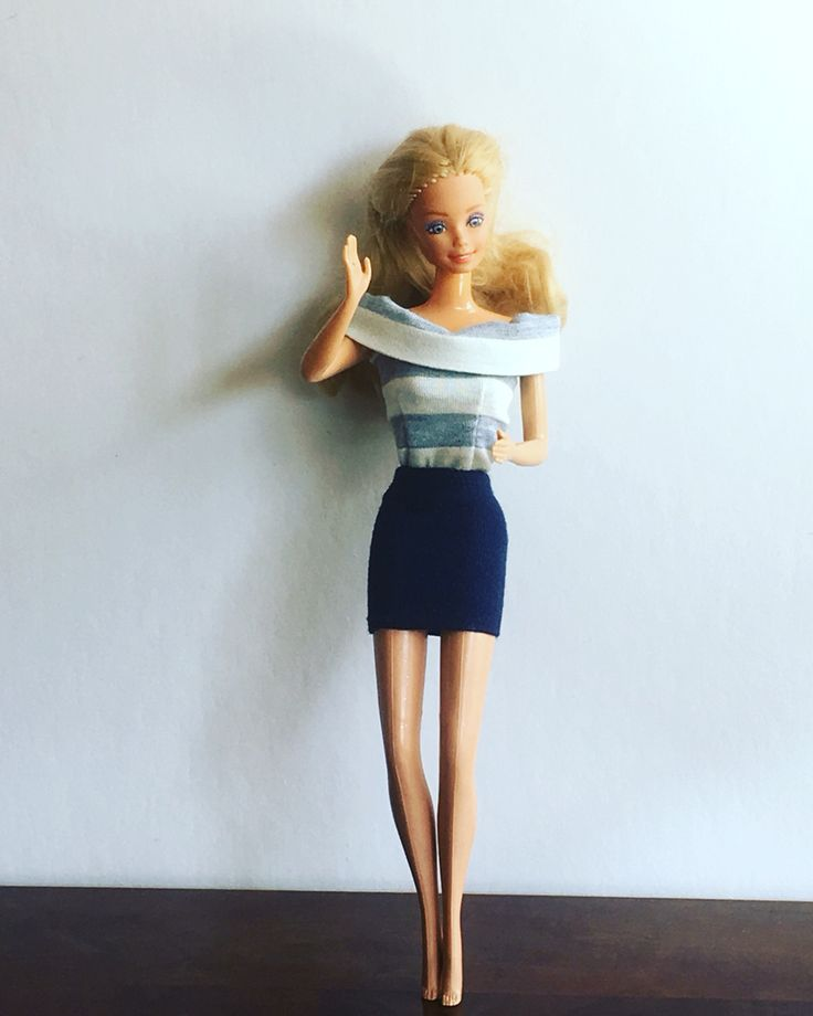 I had seen a striped boat neck top at Woolworths in summer that I liked and earlier this week I remembered! I decided to see if I could make one for Barbie. This is the best attempt of three. Worn here with a narrow navy mini skirt. #barbie #barbiestyle  #justfinished