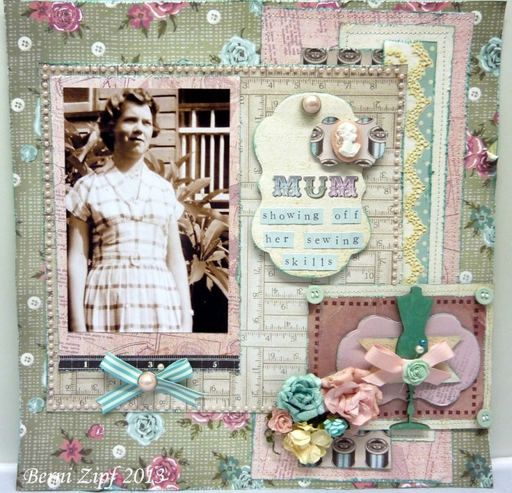 My layout using Kaisercraft collection Needle and Thread available from www.impressivestamps.com.au  Find us on Facebook