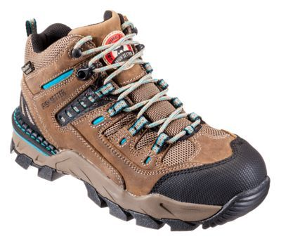 Irish Setter Two Harbors Waterproof Safety Toe Work Boots for Ladies - Brown - 9.5W