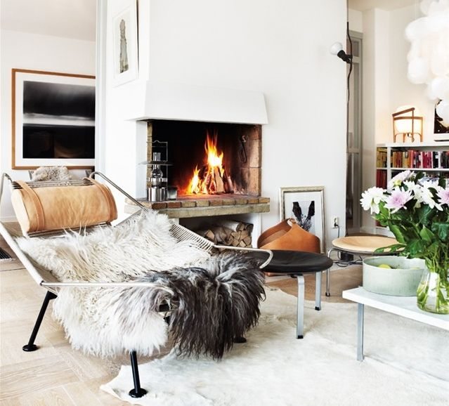 fireplace, flagline chair