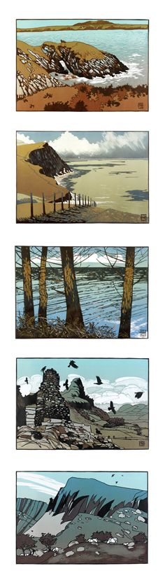 Cards for purchase. Linocut prints by Ian Phillips. http://www.reliefprint.co.uk/ Tags: Linocut, Cut, Print, Linoleum, Lino, Carving, Block, Woodcut, Helen Elstone, Wales, Welsh, Cymru, Landscape, Sea, Rocks, Sky, Clouds, Hill, Trees, Birds, Mountain.