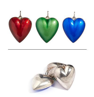 ANHENG  Konrad Melhus for David-Andersen. Sølv. Tre hjerter med emalje i blått, grønt, og rødt. Inventorstemplet. 1980 tallet.  HØYDE 3 ANTALL 3