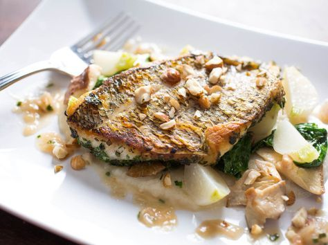 Mediterranean Sea Bass w/ spiced turnip puree  For the White Turnip Puree: 2 cups white turnips, peeled and quartered 2 cloves garlic, sliced 1 shallot, sliced 1 cup chicken stock 2 tablespoons butter 1 tablespoon fenugreek seeds ¼ cup milk 1 tablespoon olive oil Salt and pepper to taste