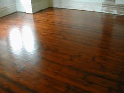 Walnut stain over the old baltic pine floor