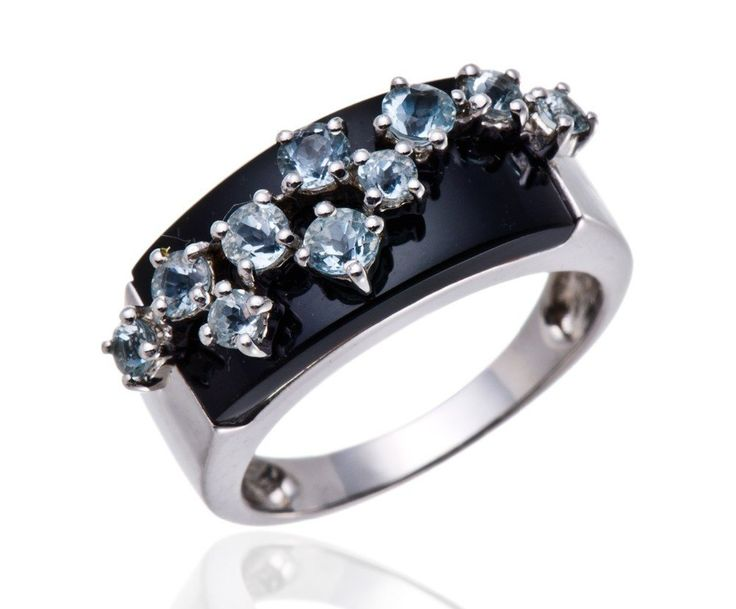 Natural Black Agate & Aquamarine  Solid 925 Sterling Silver Ring
