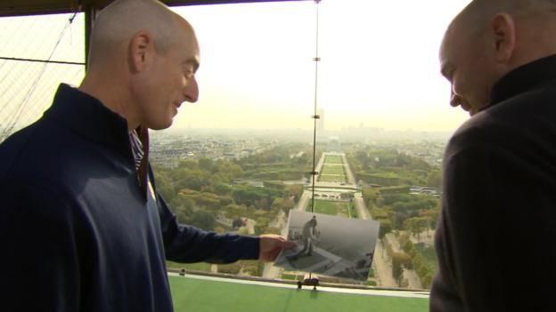 Ryder Cup captains emulate Arnold Palmer's Eiffel Tower shot  ||  Ryder Cup captains Jim Furyk and Thomas Bjorn recreate Arnold Palmer's famous Eiffel Tower shot to mark one year until the 2018 competition. http://www.bbc.co.uk/sport/golf/41666371