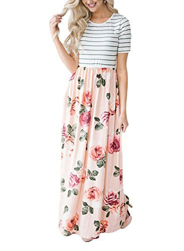 2ee8768d16e New Lovezesent Women s Striped Round Neck Short Sleeve Maxi Summer Casual  Dress from the most popular stores. Sku forg41698mqen21061