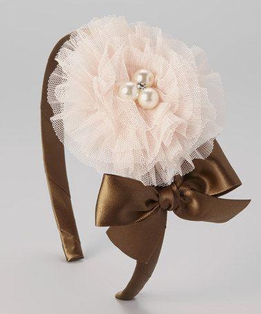 Loving this Brown Bow & Pearl Flower Headband on #zulily! #zulilyfinds