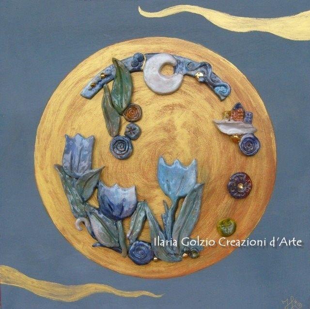 """""""EDEN"""" - Ceramica dorata su tavola dipinta - Cm.40 x 40"""