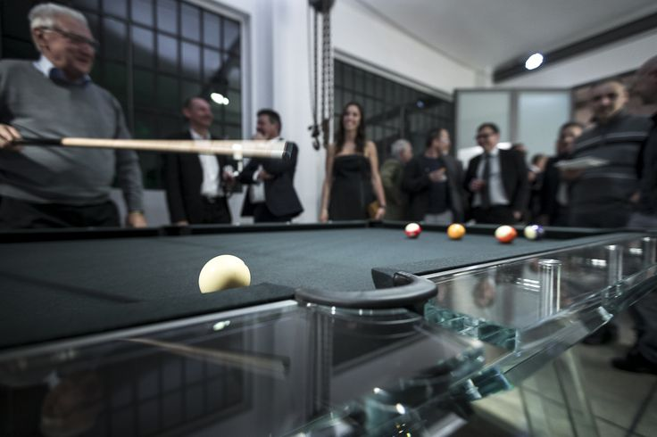 Playing on FILOTTO, the crystal glass pool table.  #poolTable #luxury #furniture #gameTable #design #madeInItaly #interiors #manCave