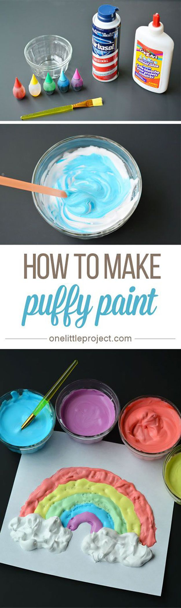 Simple Crafts for Kids to Make | DIY Puffy Paint Tutorial | Easy DIY Craft Ideas for Kids| DIY Smoothie Paint | DIY Projects & Crafts by DIY JOY at http://diyjoy.stfi.re/pinterest-crafts-for-kids-diy-paint