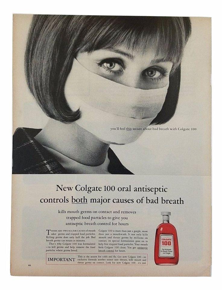 1964 Colgate 100 Antiseptic Mouthwash Vintage Print Ad