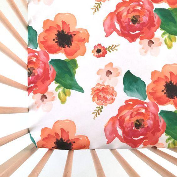 Lit de bébé feuille Floral rêves. Drap de lit équipée. Literie