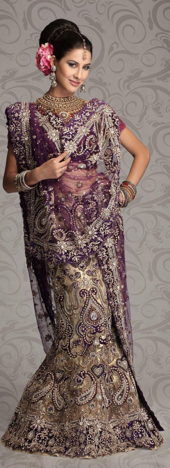$1667.07 Beige Purple Net Bridal Lehengas 8789 With Unstitched Blouse
